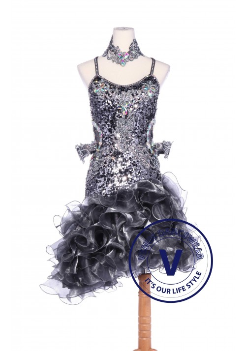Silver Sequin Latin Rhythm Chacha Salsa Competition Dancing Dress