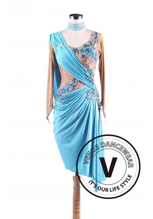 Sky Blue Latin Rhythm Swing Salsa Competition Dance Dress