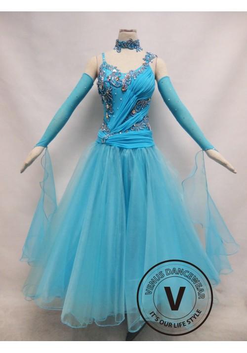 Light Blue Competition Ballroom Dance Dress