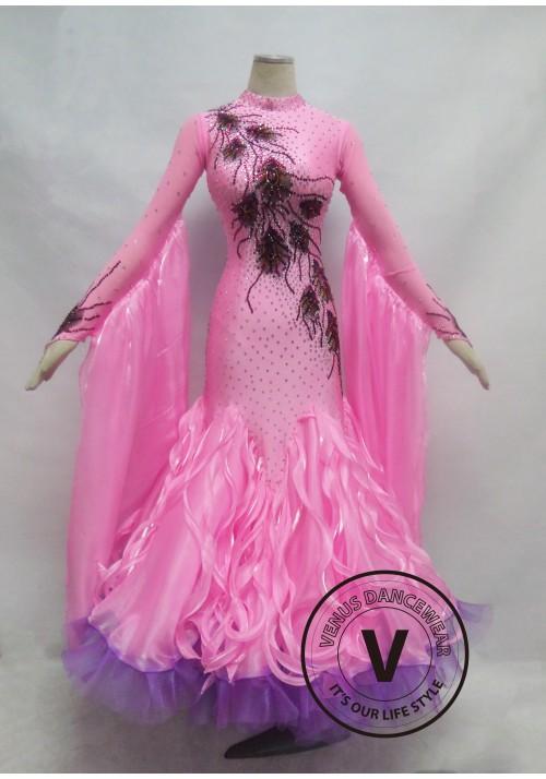 Light Pink Competition Ballroom Dance Dress