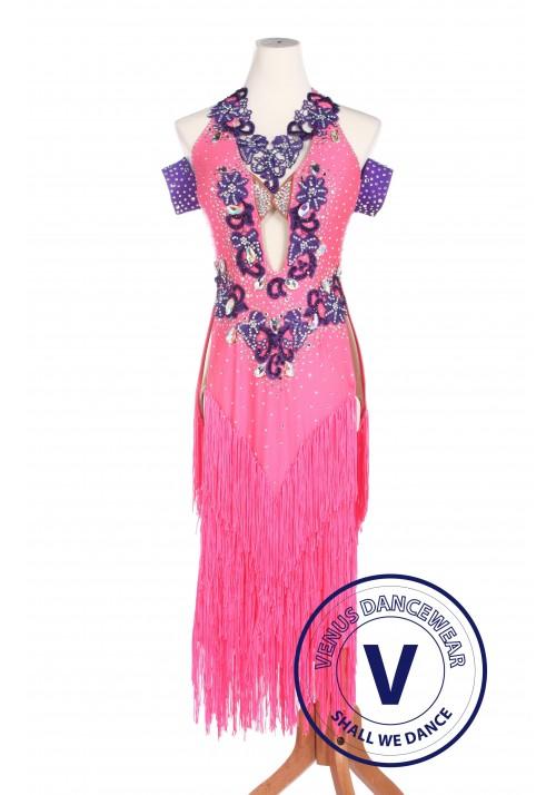 Pink Women Ballroom Salsa Latin Rumba Swing Dance Dress
