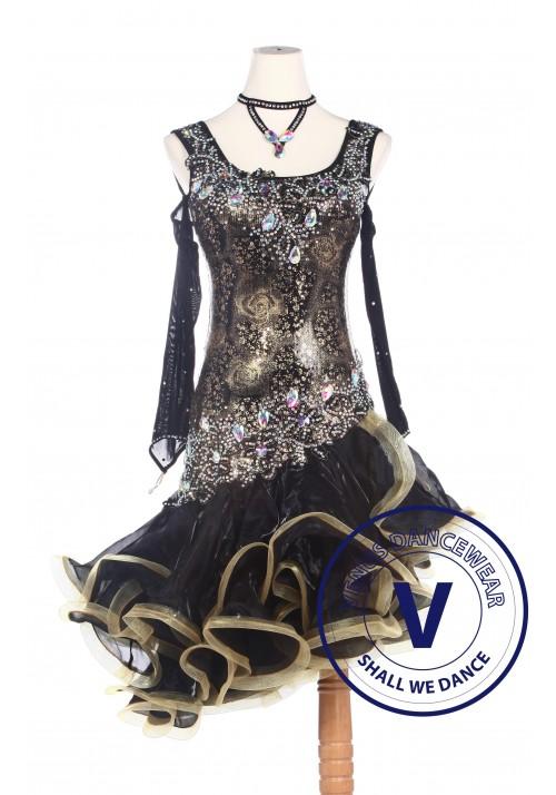 Black Golden Rose Sequin Woman Latin Rhythm Salsa ballroom Competition Dance Dress