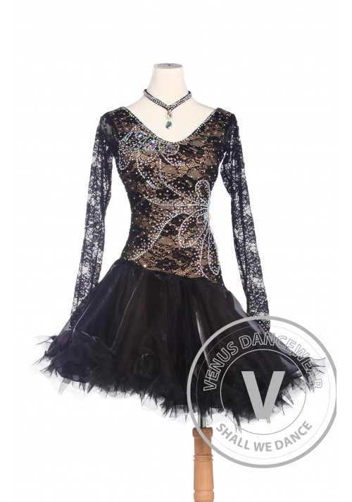 Golden Elegant American Rhythm Salsa Rumba Latin Competition Dance Dress