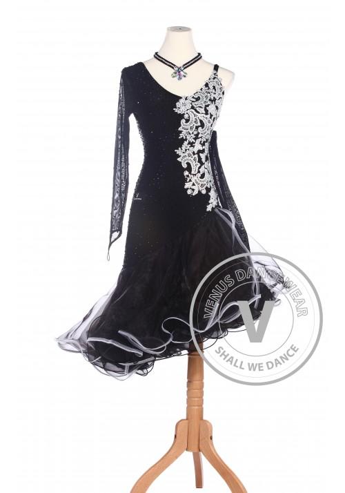 White Flower Latin Rhythm Salsa Rumba Latin Competition Dance Dress