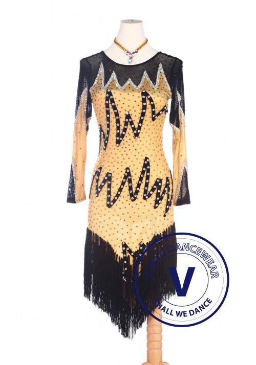 Yellow Latin Rhythm Rumba Swing Competition Dance Dress