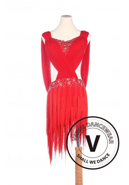 Red Latin Rhythm Salsa Rumba Latin Competition Dancing Dress