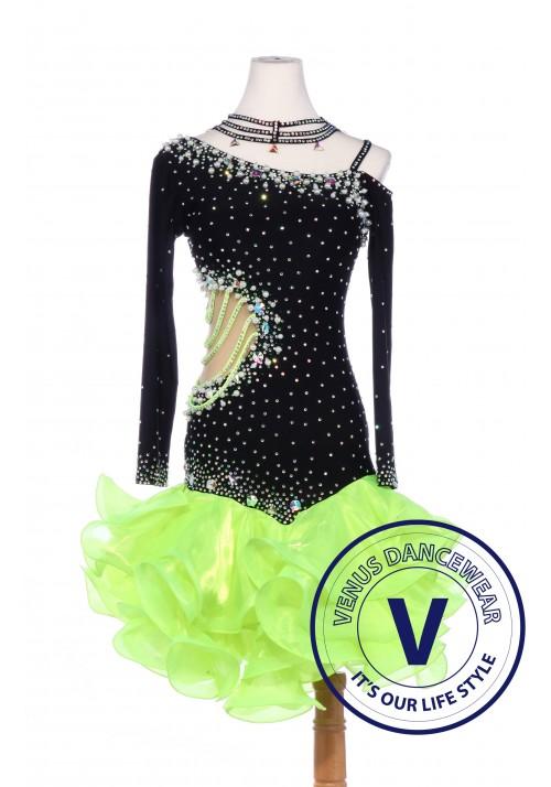 Green Latin Rhythm Chacha Salsa Competition Pearls Dress