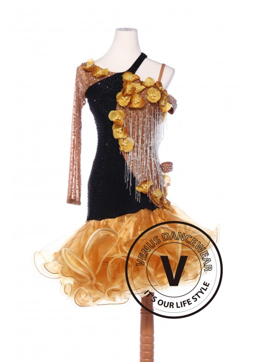 Caramel Color Latin Rhythm Chacha Salsa Competition Dancing Dress