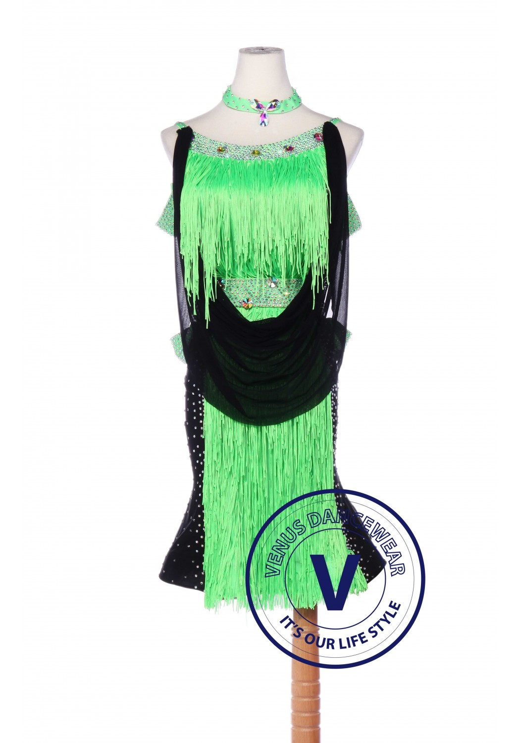 Sage Tail Latin Rhythm Chacha Salsa Competition Dancing Dress