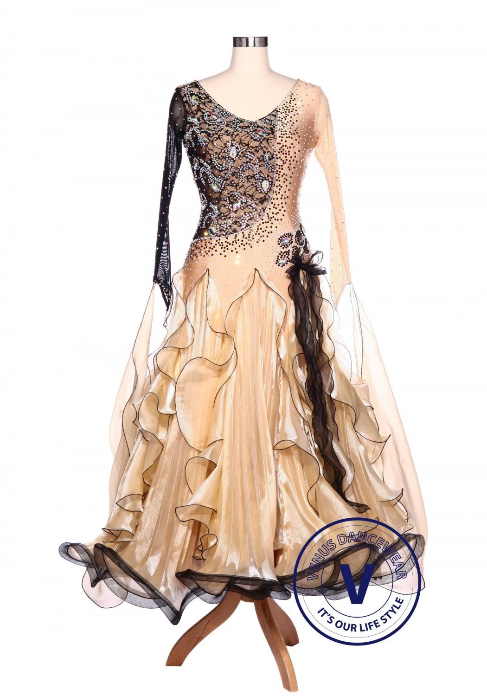 Black Lace Almond Waltz Standard Tango Smooth Ballroom