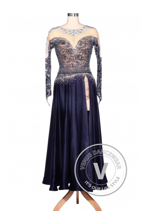 Luxury Gorgeous Navy Blue American Smooth Competition Dress