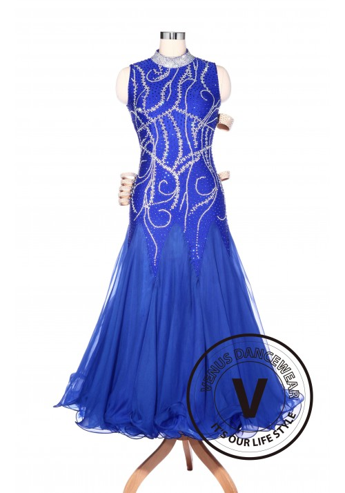 Luxury Elegant Royal Blue American Smooth Standard Competition Dress