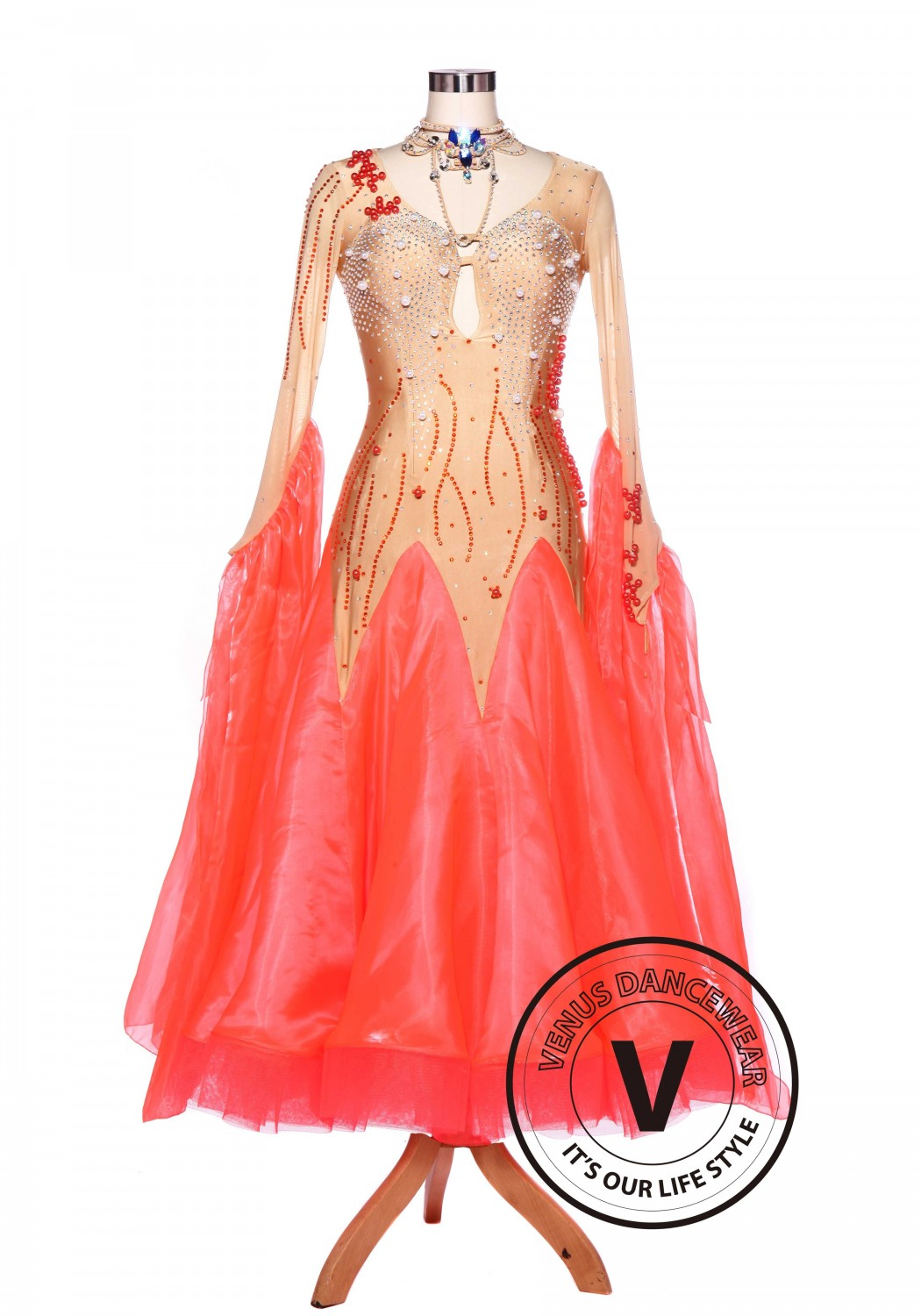 Coral Red Sewing Pearl Smooth Waltz Standard Tango Ballroom Competition Dress