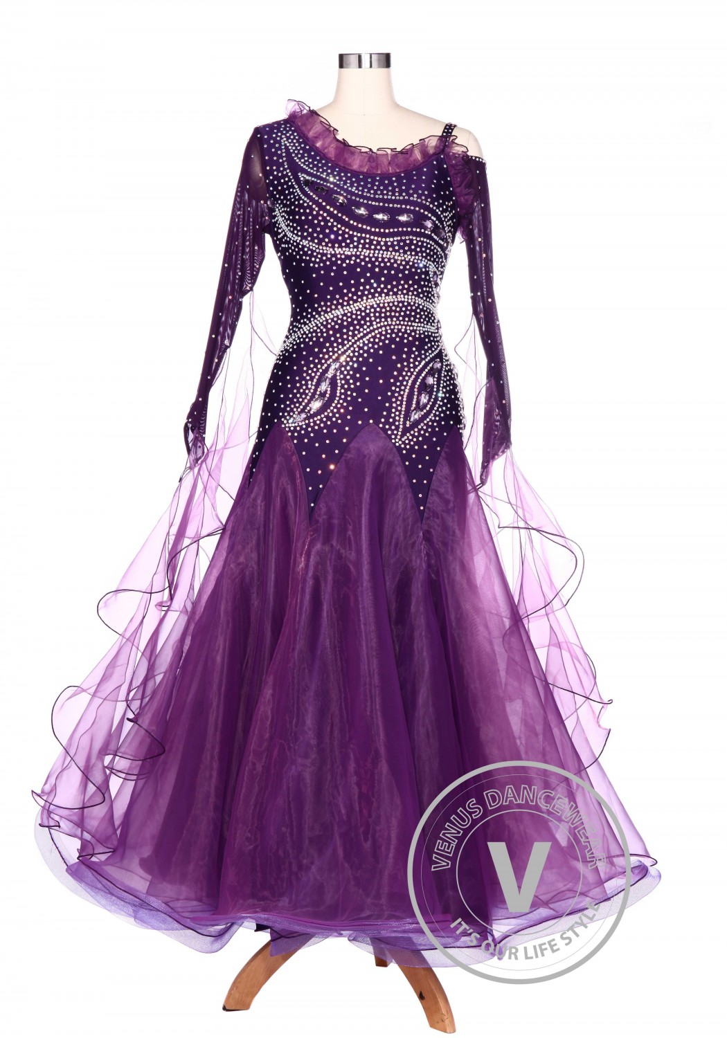 Plum Tail Waltz Smooth Standard Tango Ballroom Women Competition Dress