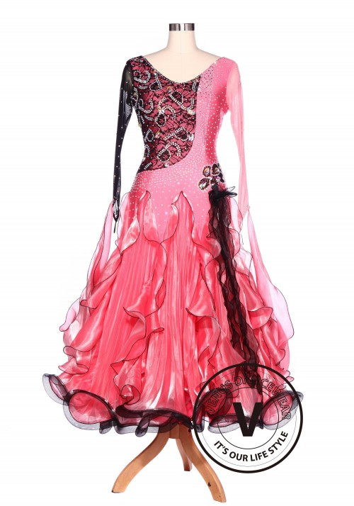 Black Lace Pink Waltz Standard Tango Smooth Ballroom Competition Dance Dress