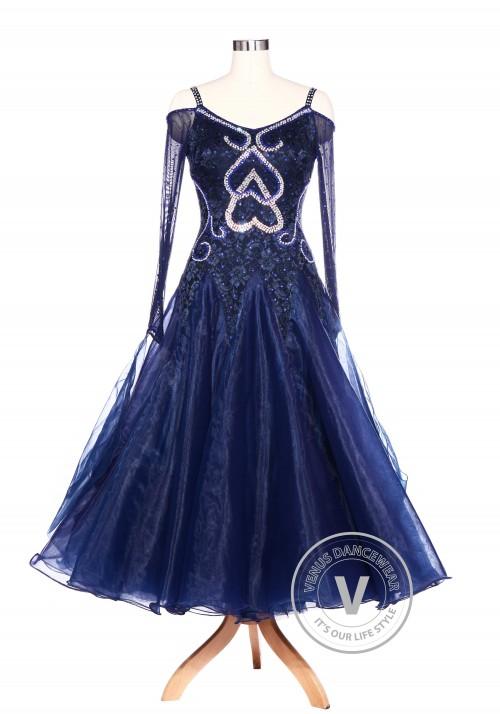 Navy Blue Lace Love Smooth Waltz Standard Tango Ballroom Competition Women Dress