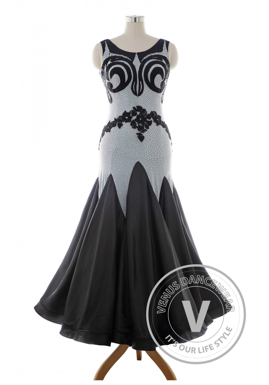 Luxury Black Standard Ballroom Tango Waltz Smooth Competition Dance Dress