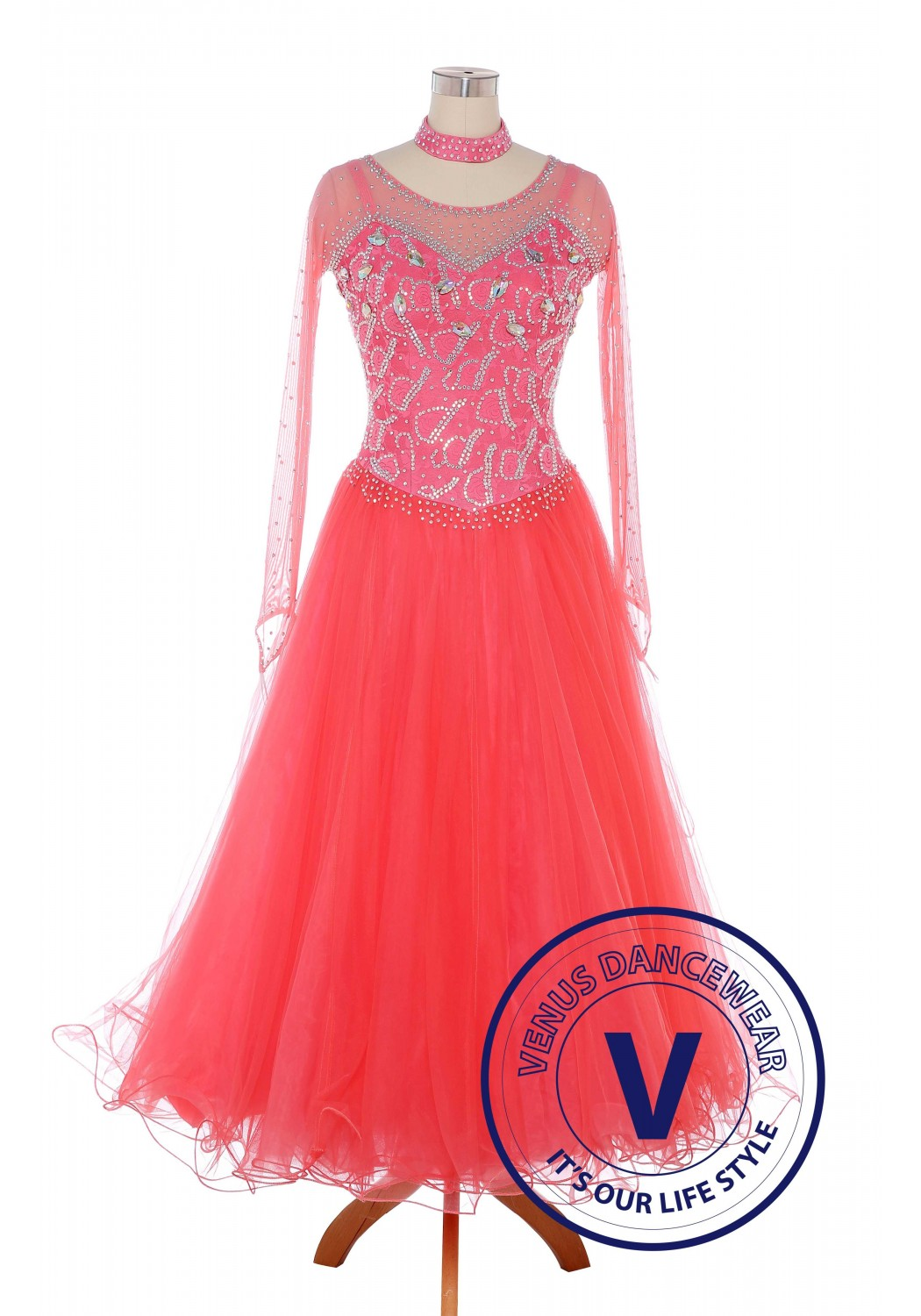 Coral Pink Standard Ballroom Tango Waltz Smooth Competition Dance Dress