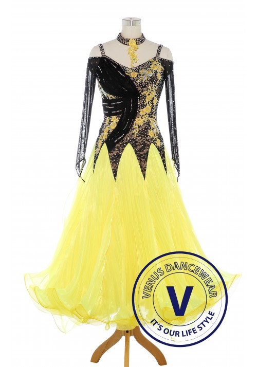 Luxury Yellow Standard Ballroom Tango Waltz Smooth Competition Dance Dress