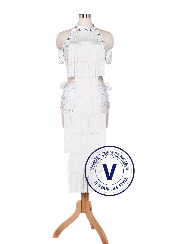 9539d42a4dda White Fringe Latin Rhythm Salsa Rumba Latin Competition Dance Dress