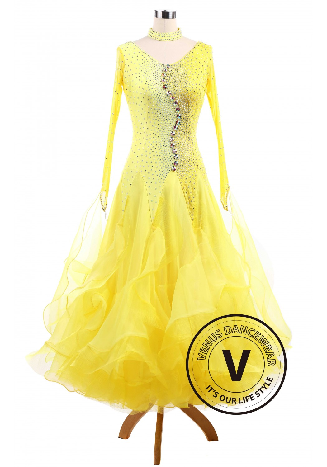 Pure Yellow Standard Ballroom Tango Waltz Smooth Competition Dance Dress
