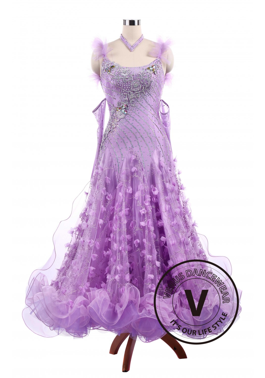 Violet Flower Ballroom Tango Waltz Smooth Competition Standard Dance Dress