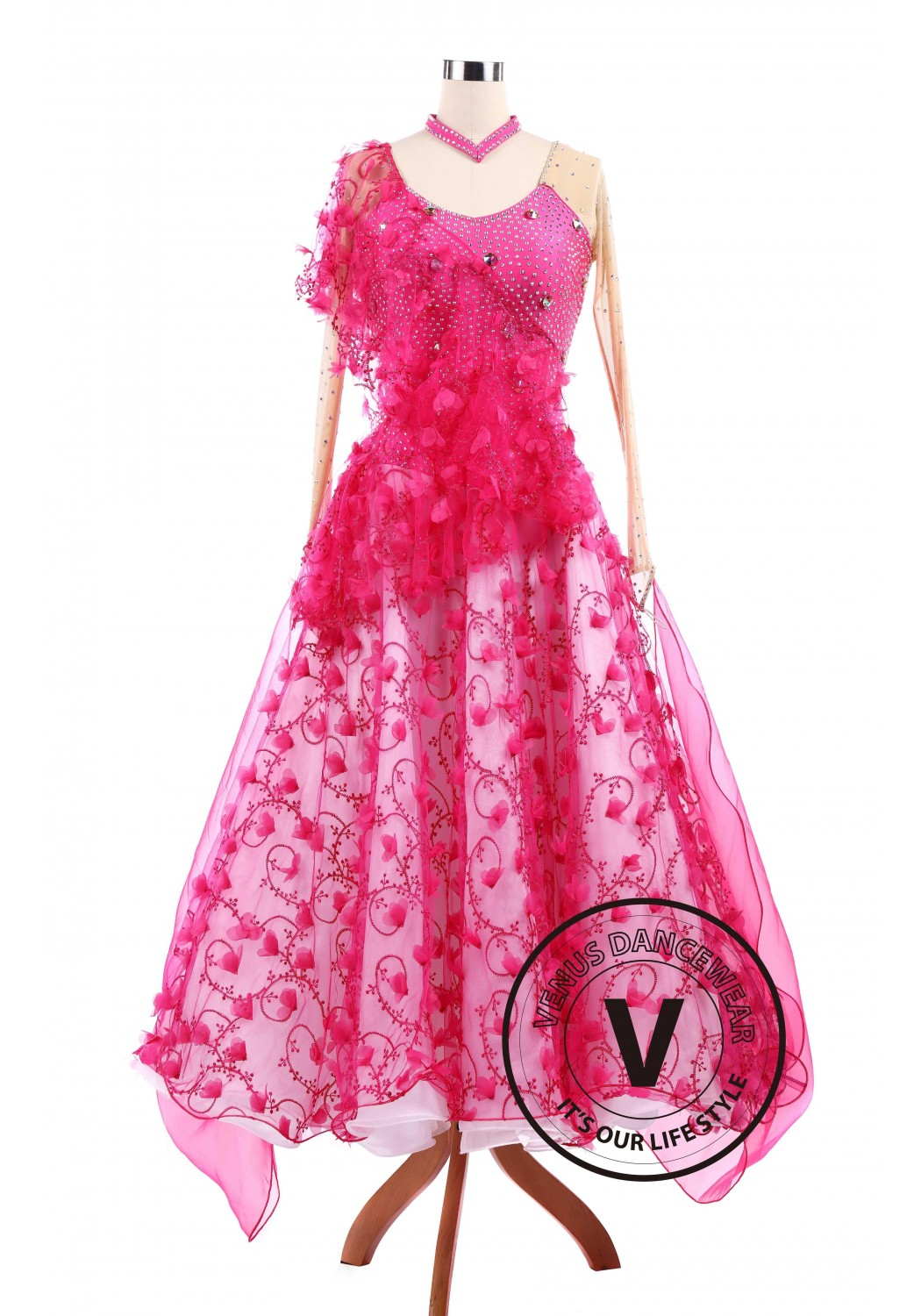 Pink Vines Ballroom Tango Waltz Smooth Standard Competition Dance Dress