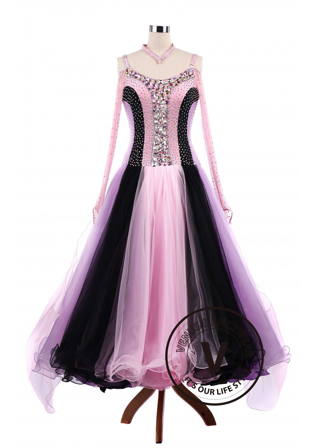 Pink Tricolore Standard Ballroom Tango Waltz Competition Dance Dress