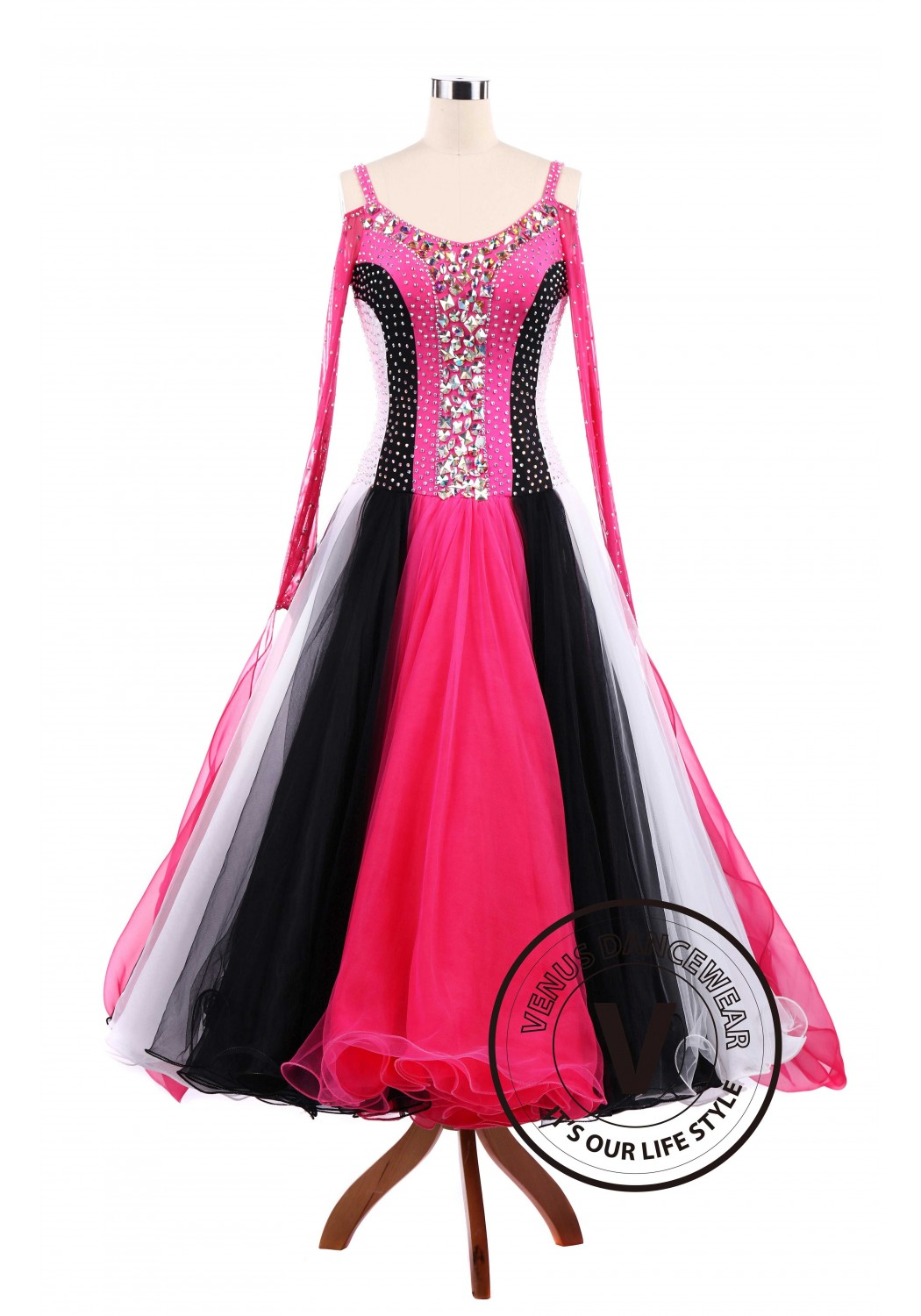 Rose Tricolore Standard Ballroom Tango Waltz Competition Dance Dress