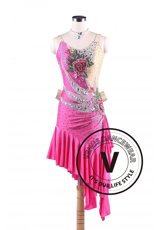 Rose Peahen Latin Rhythm Swing Salsa Competition Dance Dress