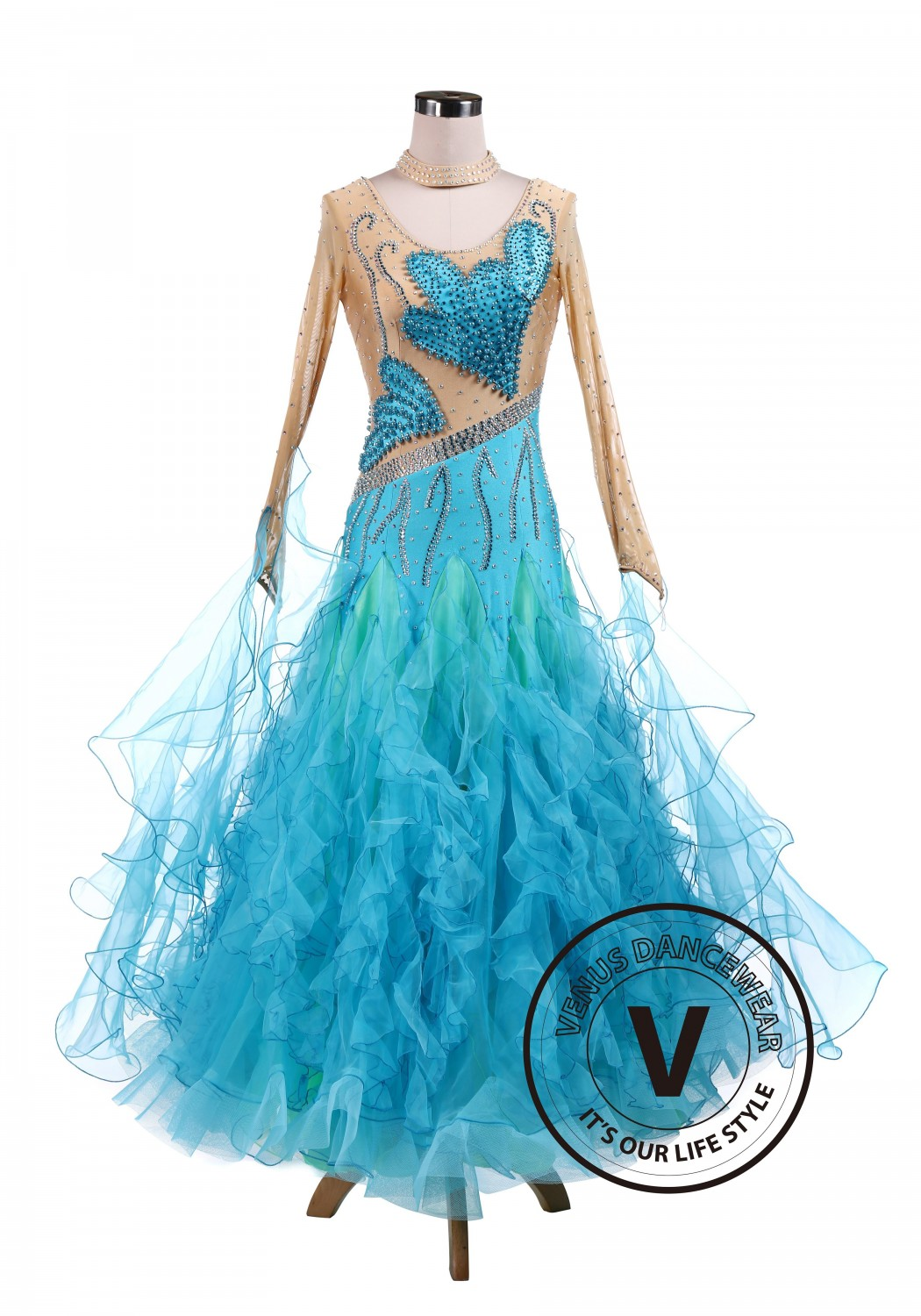 Blue Butterfly Pearl Ballroom Competition Dress Tango Waltz Dancing Dress