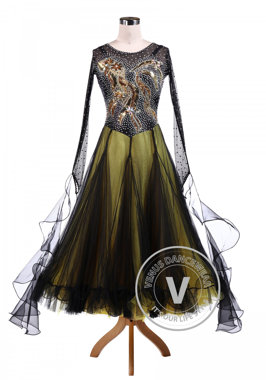 Golden Fish Shinning Ballroom Dance Tango Waltz Dress
