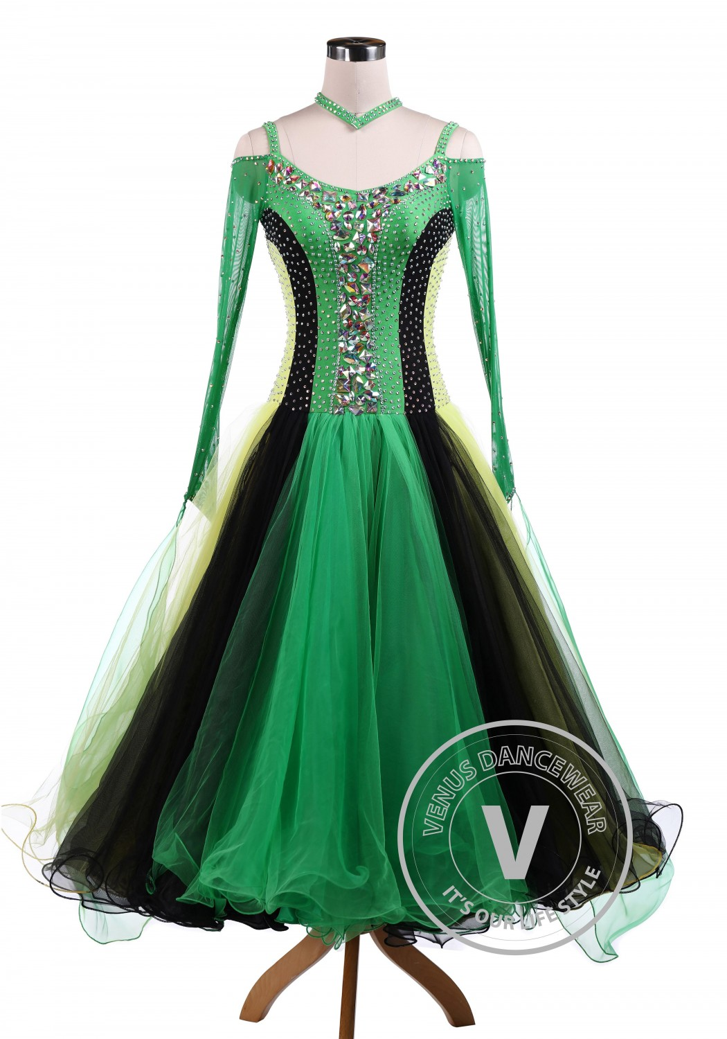 Green Tricolore Standard Ballroom Tango Waltz Competition Dance Dress