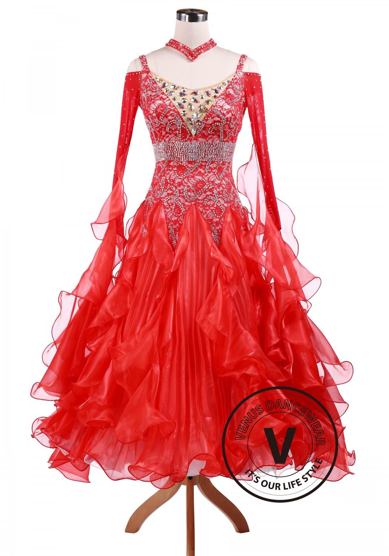 Bright Red Waltz Tango Competition Ballroom Dance Dress