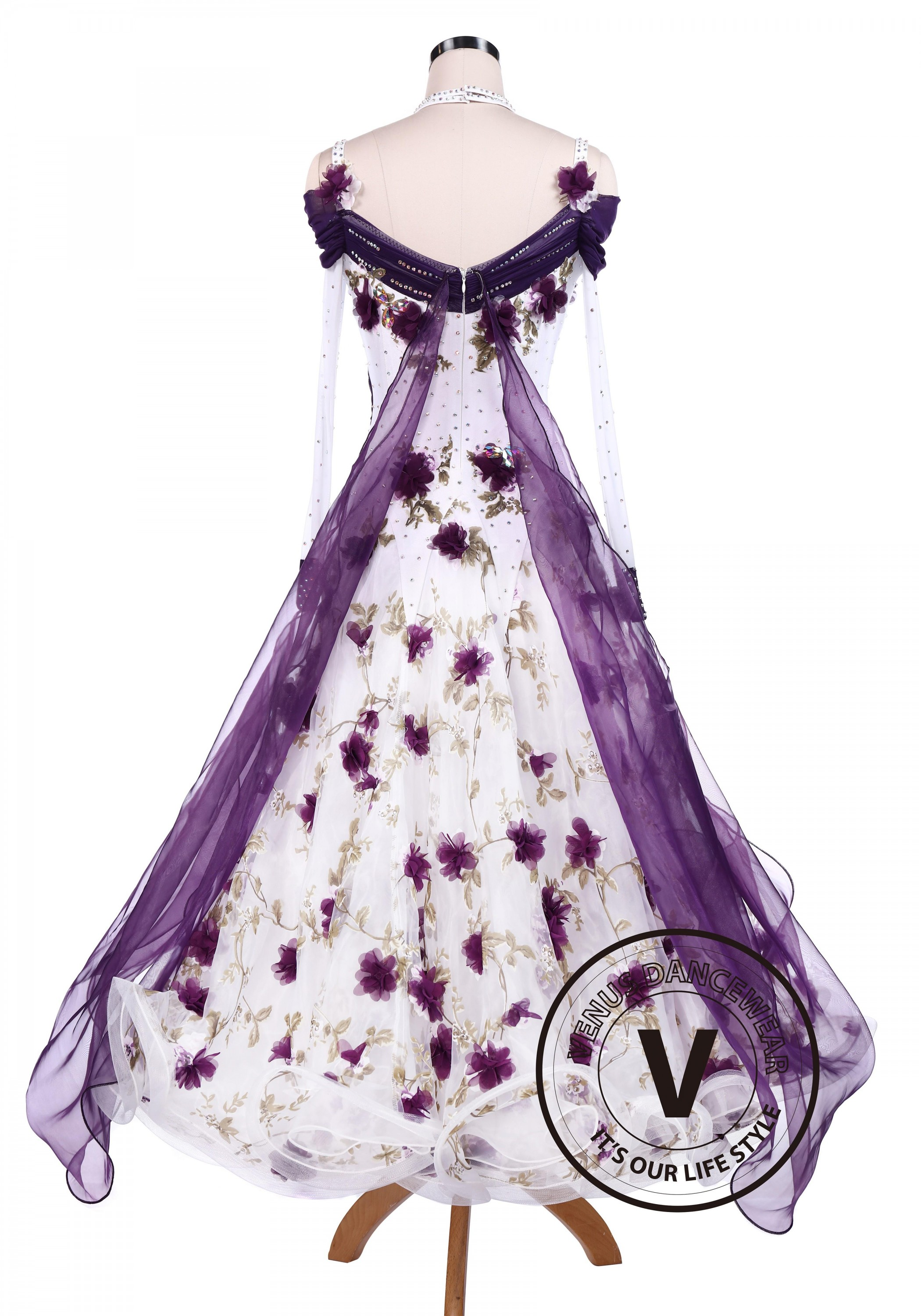 Purple flower smooth tango competition ballroom dancing dress mightylinksfo
