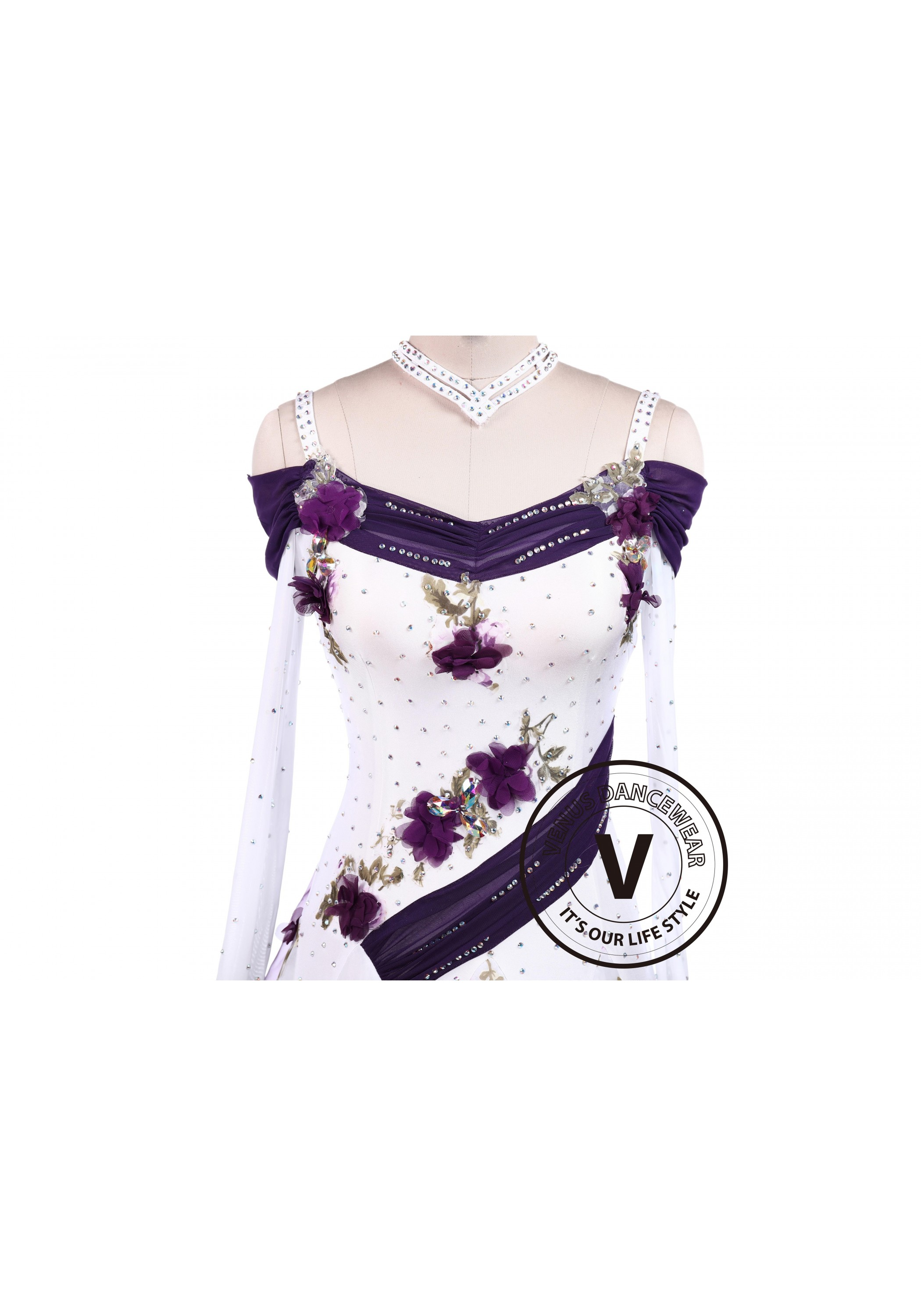 22ca71c36272 Purple Flower Smooth Tango Competition Ballroom Dancing Dress