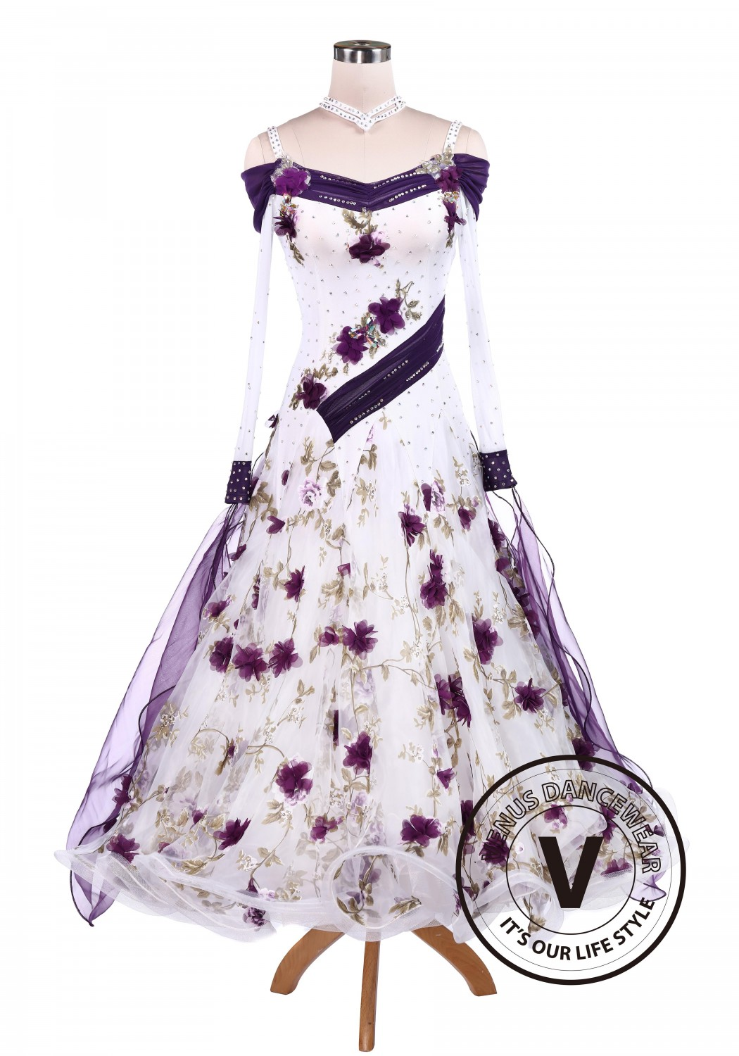 Purple Flower Smooth Tango Competition Ballroom Dancing Dress