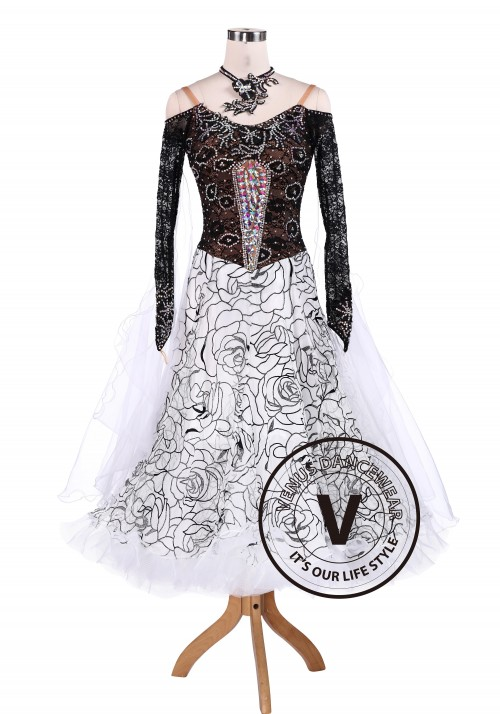 Black Rose Luxury Ballroom Tango Waltz Competition Dance Dress