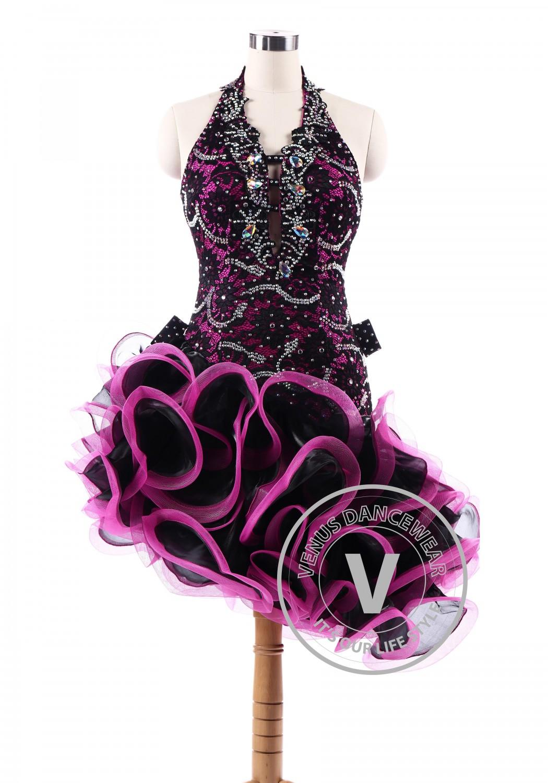 Burgundy Latin Rhythm Salsa Competition Dancing Dress