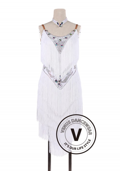 White Fringe Latin Rhythm Salsa Tango Competition Dancing Dress