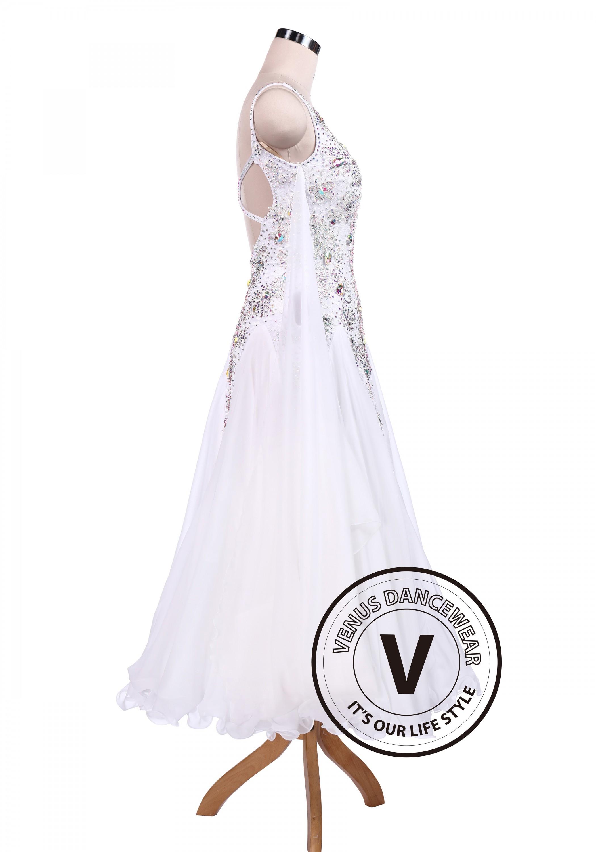 cc3e69f74785 Pure White Sexy Ballroom Tango Waltz Competition Dress