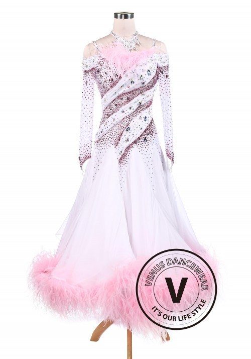 Sakura Pink Feather Luxury Ballroom Competition Dancing Dress