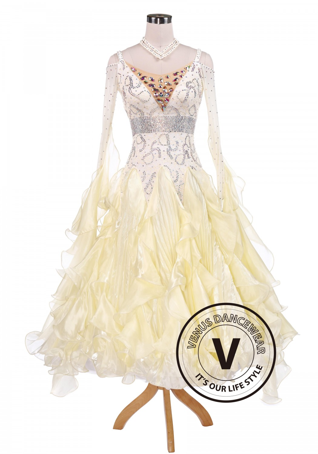 Bright Cream Waltz Tango Competition Ballroom Dance Dress