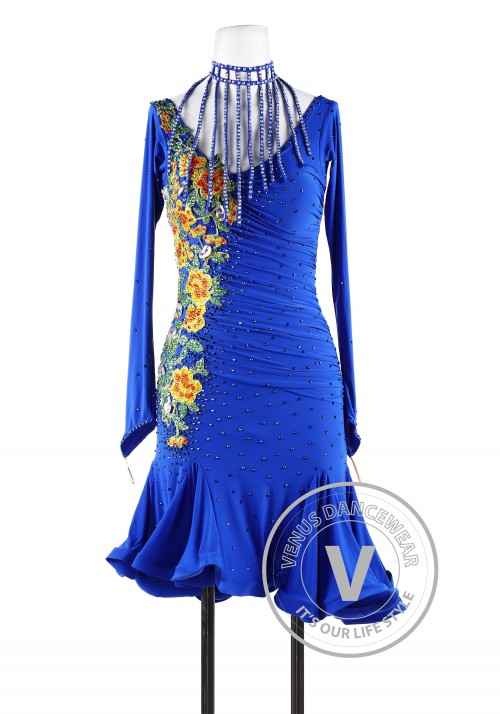 Royal Blue Sunflower Latin Chacha Rhythm Salsa Women Competition Dancing Dress