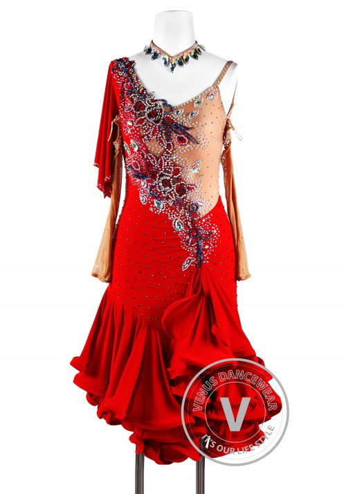 Fire Elemental Latin Rhythm Chacha Salsa Competition Dancing Dress