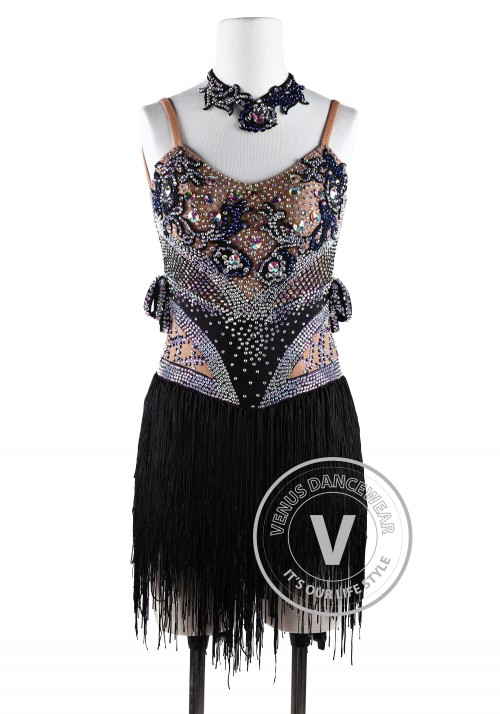 Black Geometric Fringes Latin Rhythm Chacha Salsa Competition Dancing Dress