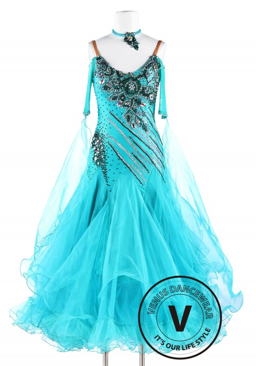 Water Elemental Smooth Waltz Tango Quickstep Ballroom Competition Dance Dress