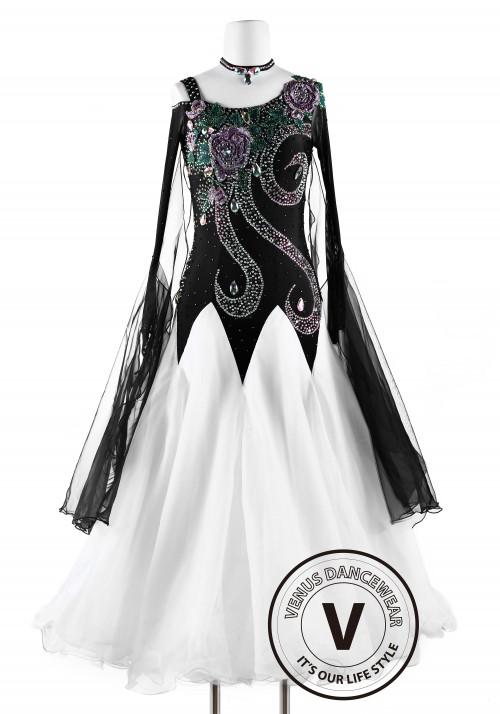 White and Black Phoenix Smooth Waltz Tango Quickstep Ballroom Competition Dance Dress