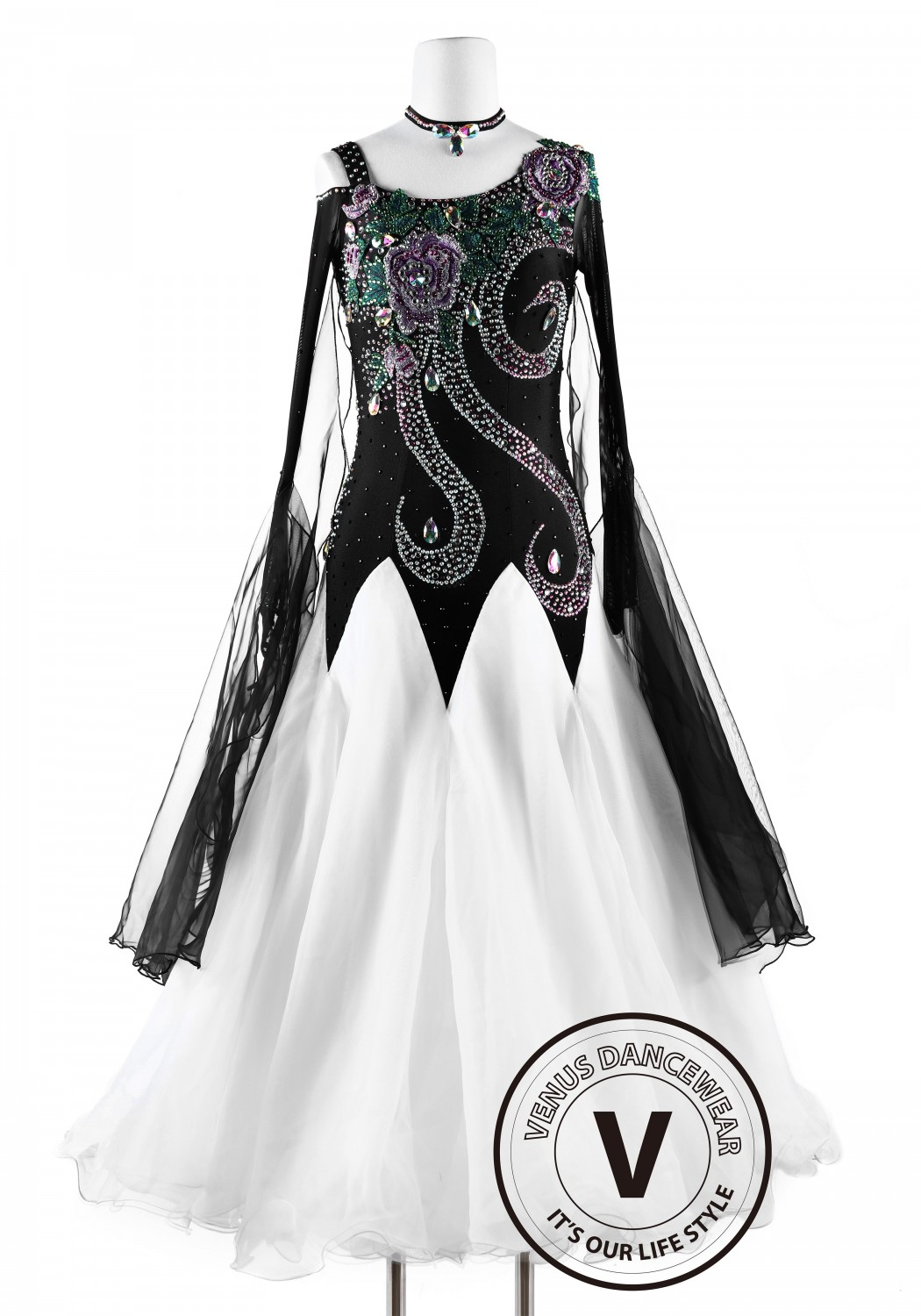 White and Black Phoenix Smooth Waltz Tango Quickstep Ballroom Competition Dance Dress