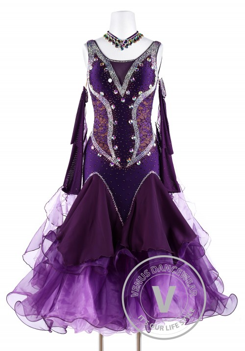 Plum Lace Smooth Waltz Tango Quickstep Ballroom Competition Dance Dress